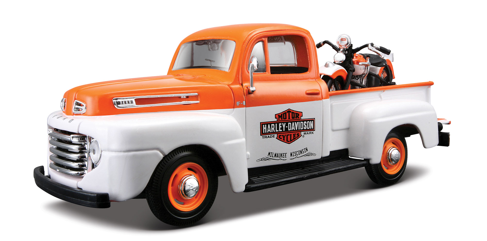 Ford F-1 Pick-Up 1948 met Motor Wit/Oranje - Harley Davidson
