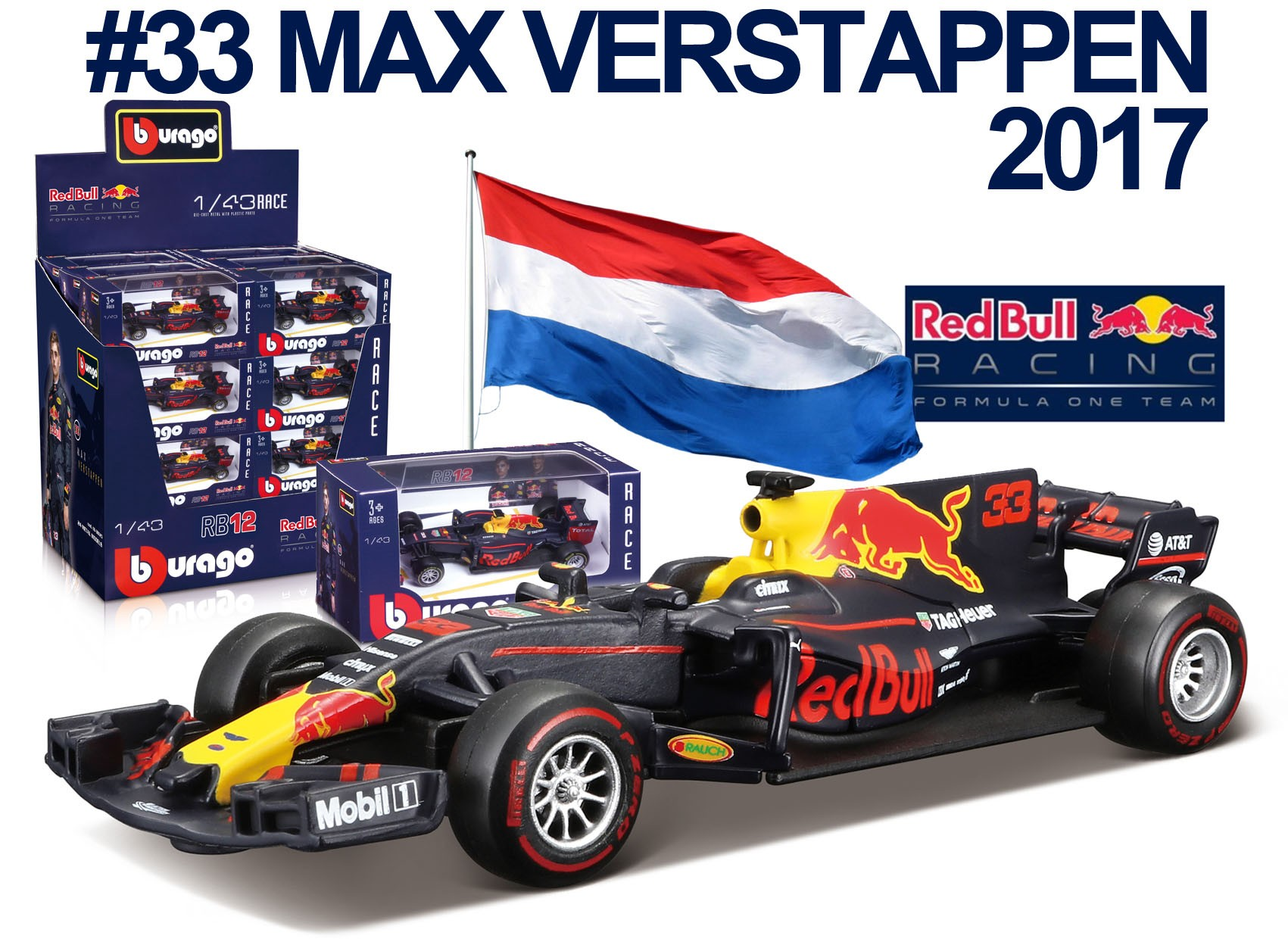 Red Bull Racing RB13 F1 No.33 2017 M. Verstappen (36 stuks)