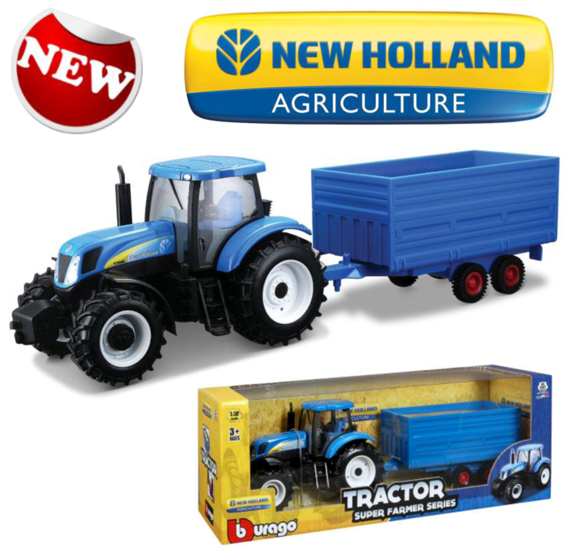 New Holland T7000 Tractor with Hay Trailer