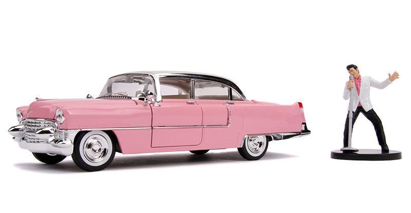 Cadillac Fleetwood with Elvis Presley figurine 1955 Pink