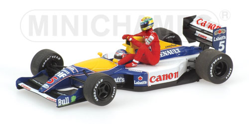 WILLIAMS RENAULT FW14 N. MANSELL WITH SENNA RIDING ON ENGINE COVER, BRITISH GP JULY 14TH 1991