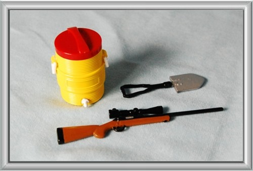 Rifle, Cooler, Shovel