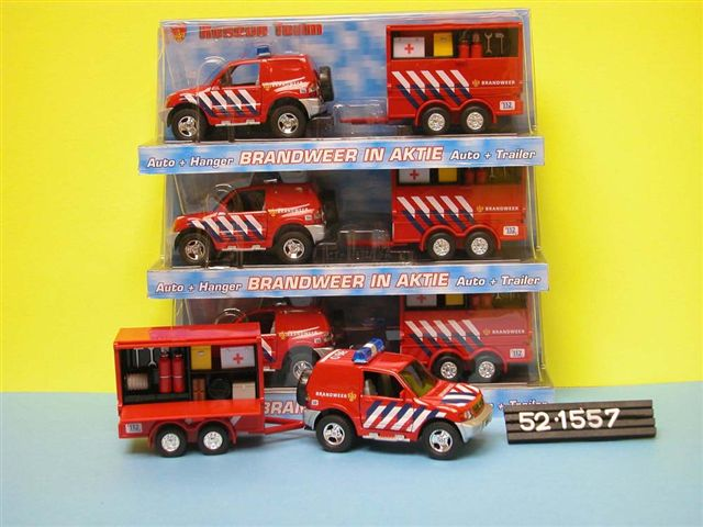 DCPB Brandweer Auto Nederland met Aanhangwagen Light and Sound